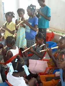 HaÏti - Keeping children busy after the big destructive earthquake with magnitude 7.0 in 2010.
