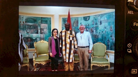Burkina Faso - The DEAR Foundation Director Sevim Araz and Programm Manager Stefan Rothschild with State President Roch Marc Kaboré
