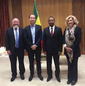 Aethiopia, Addis Abeba - His Excellency The Prime Minister Abiy Ahmed, with Sonja Dinner, The Chief Rabbi of Great Britain Ephraim Mirvis and Sir Trevor Pears