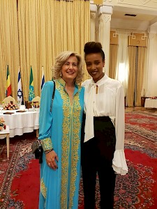 Aethiopia, Addis Abeba - Sonja Dinner with Aethiopian singer Ester Rada at the Presidential dinner of the Aethiopian President Mulatu Teschome